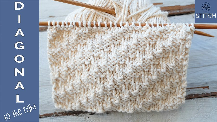 A Textured Knitting Stitch For Beginners Diagonal To The Right For