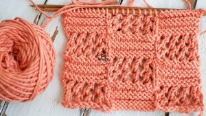 Knitting stitch pattern squares lace step by step