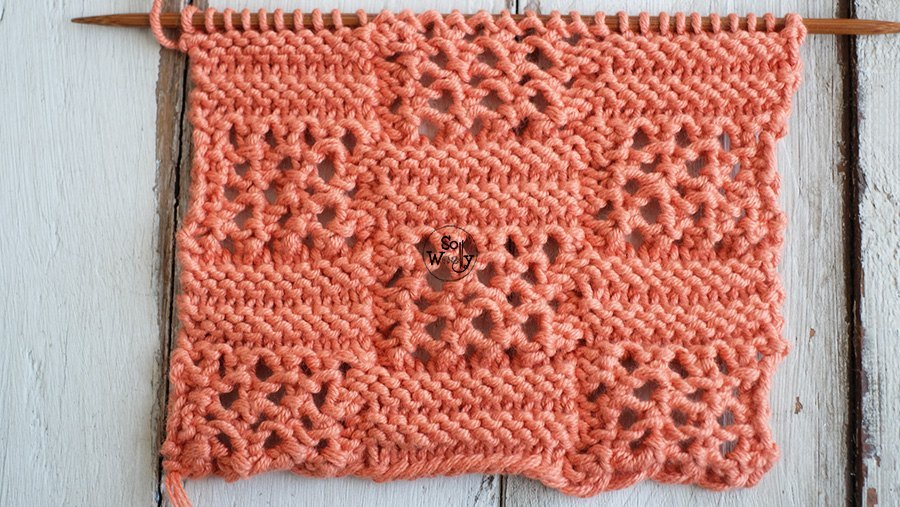 Syncopated Lace squares knitting pattern tutorial