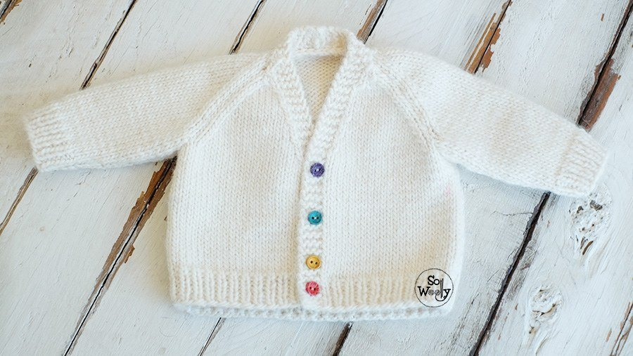 Baby V-Neck Jacket knitting pattern video tutorial for beginners
