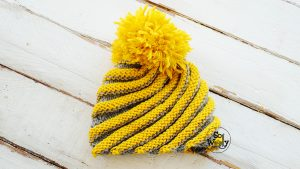 Spiral hat free knitting pattern and step by step tutorial