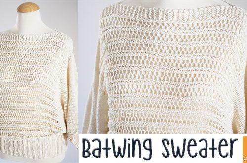 Batwing woman sweater free knitting pattern