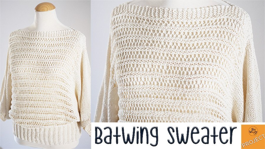 Batwing woman sweater free knitting pattern
