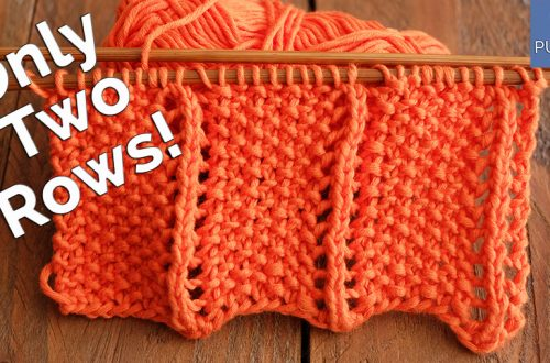 Two rows knitting stitch pattern tutorial So Woolly