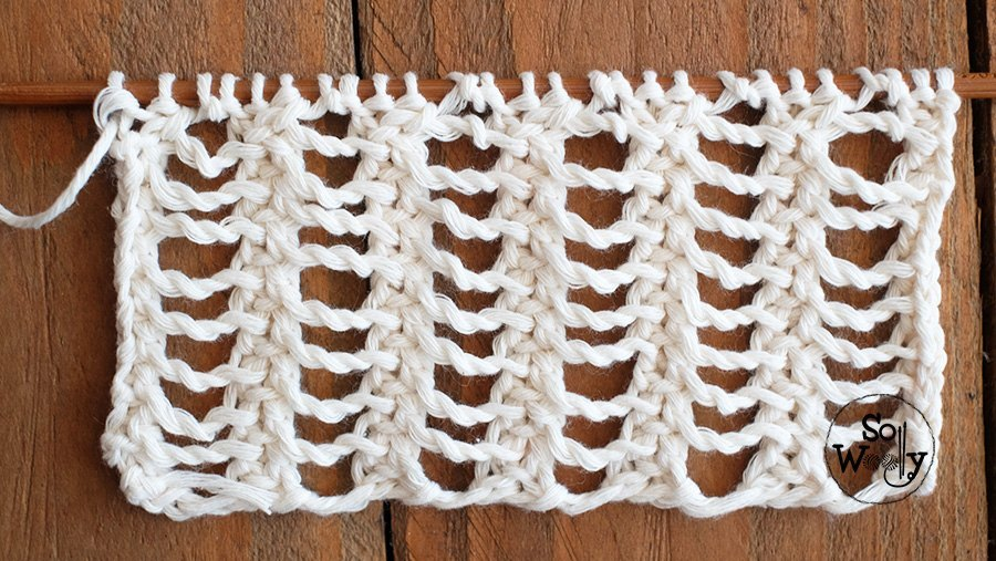 Double Lace Rib knitting stitch pattern and video tutorial