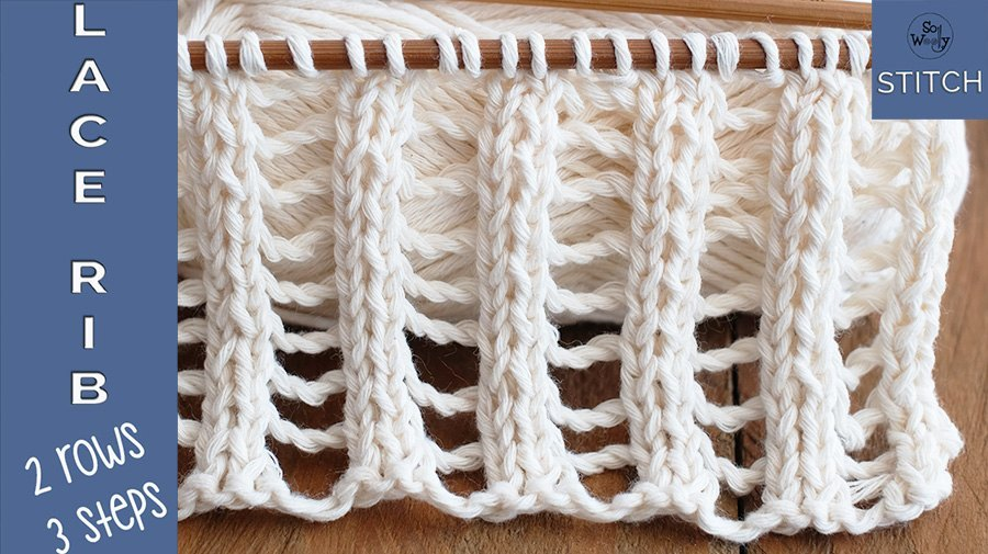 Lace rib stitch knitting pattern and video tutorial
