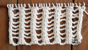 Two-row knitting lace stitch pattern step by step tutorial