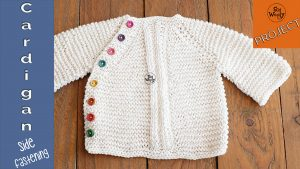 Round neck baby cardigan side fastening knitting pattern for beginners