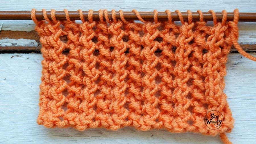 Two row lace zig zag knitting stitch pattern