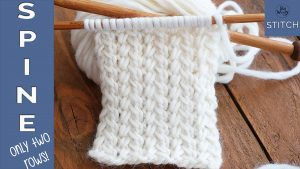Spine stitch two-row knitting pattern tutorial