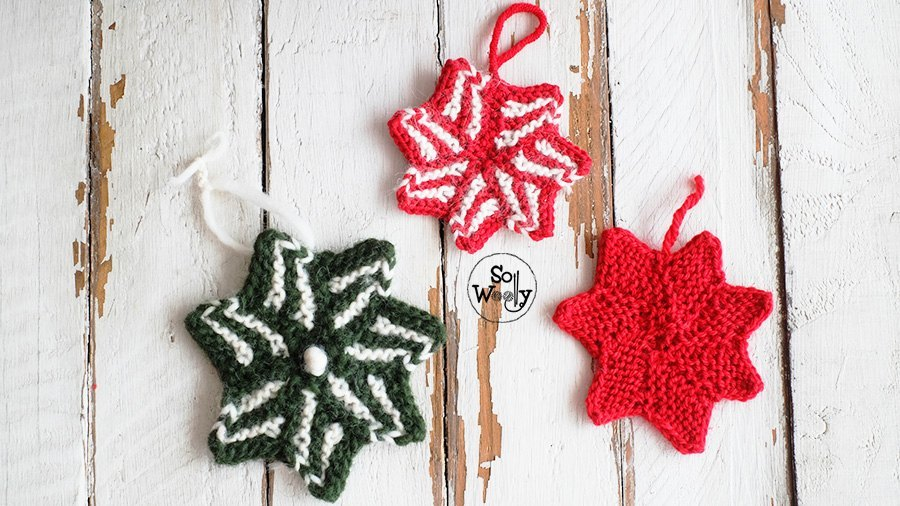Christmas Star ornament knitting pattern and tutorial. So Woolly.