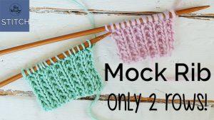 Mock Rib knitting stitch pattern step by step