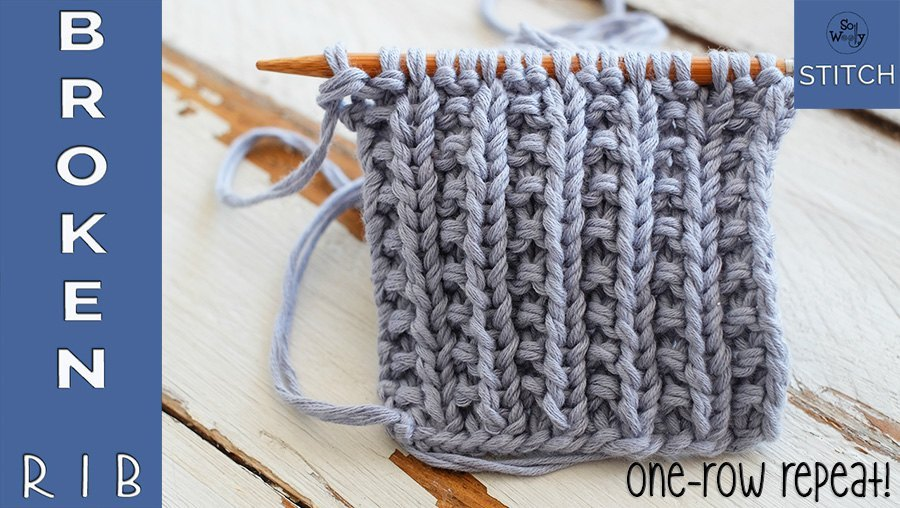 Broken Rib knitting stitch pattern for beginners