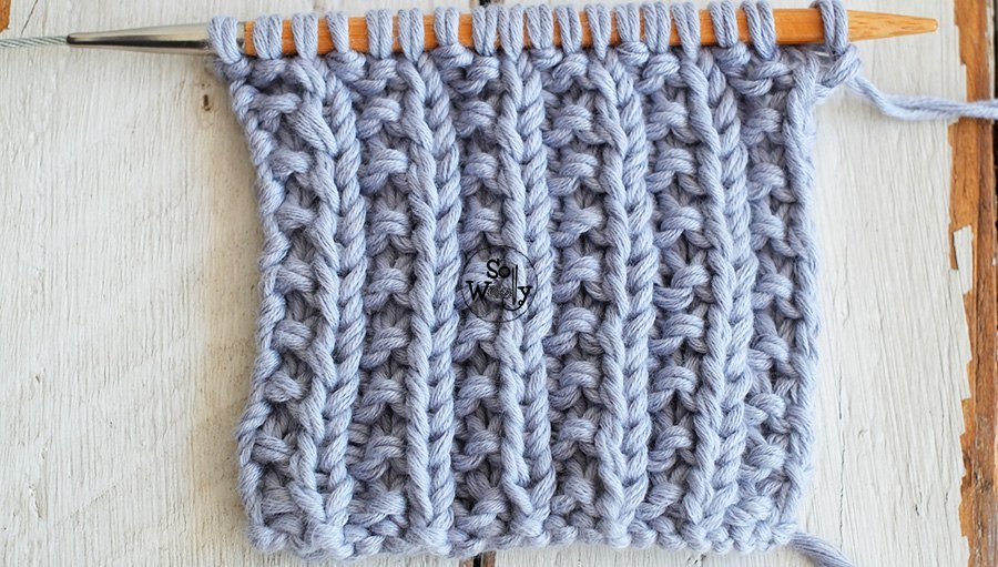 One-row knitting stitch pattern, step by step: Broken Rib. So Woolly.