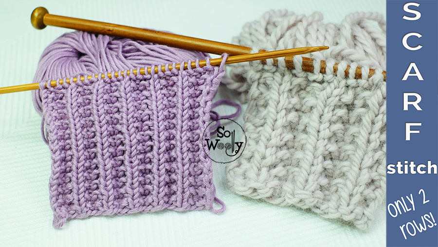Scarf stitch knitting pattern two row repeat