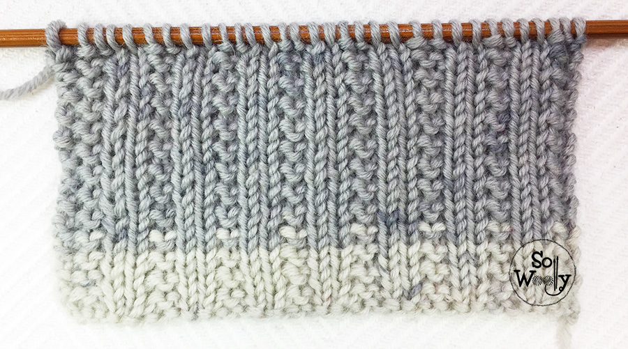 Easy reversible stitch pattern for knitting cowls and scarves. So Woolly.