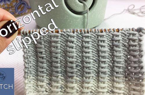 Horizontal slipped stitch knitting pattern