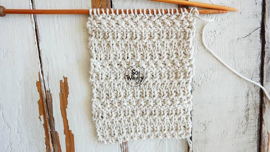 Moss stitch knitting pattern for beginners. So Woolly.