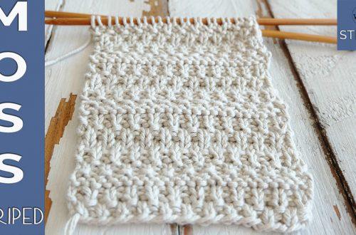 Striped Moss stitch knitting pattern and video tutorial