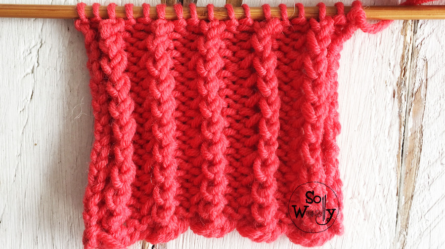 Easy lace rib knitting stitch pattern tutorial. So Woolly.