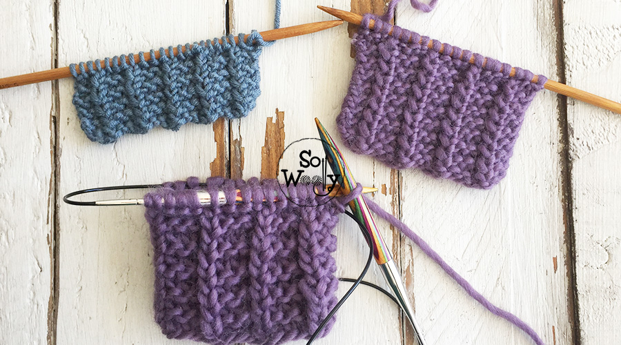 Easy reversible knitting stitch pattern in the round. So Woolly.