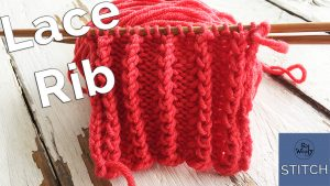 Lace rib knitting stitch pattern