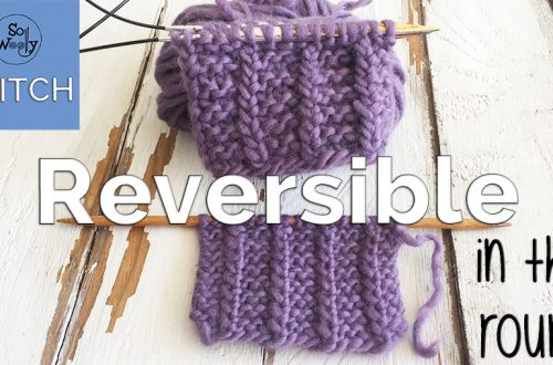 One-row Reversible stitch in the round knitting pattern