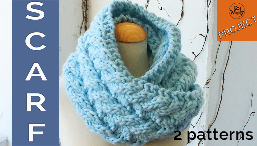 Unisex Scarf knitted in Reversible Rope stitch