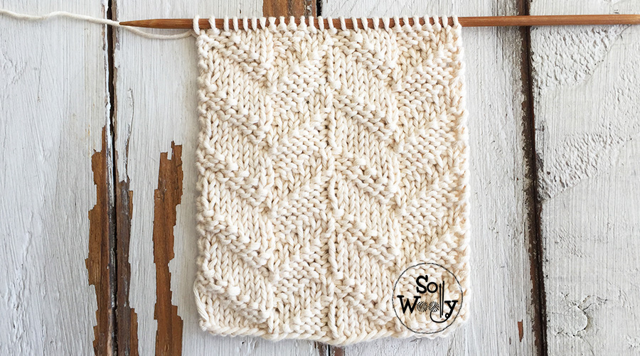 Easy shadow knitting stitch pattern step by step. So Woolly