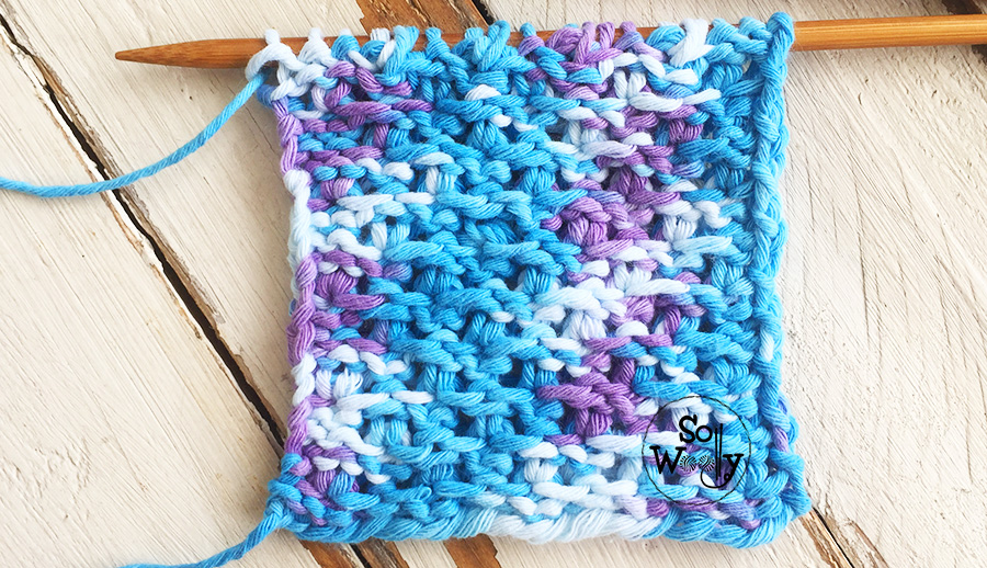 Four-row repeat dense knitting stitch pattern and video tutorial. So Woolly.