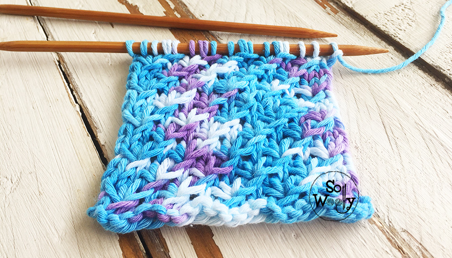 Star stitch knitting pattern for variegated yarns. So Woolly.