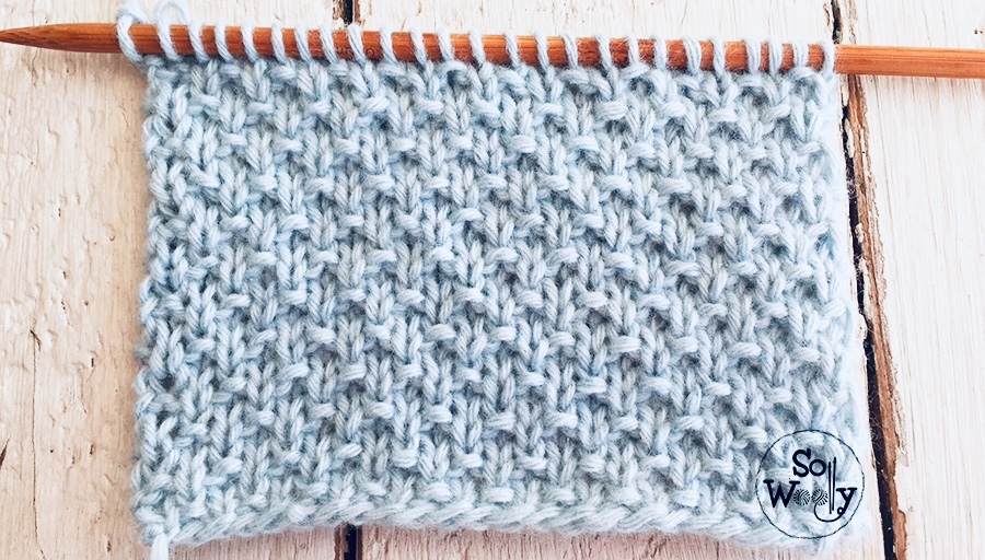 How to knit the Sand stitch knitting pattern, step by step. Ideal for beginners. So Woolly.