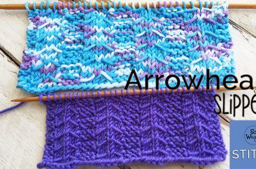 Arrowhead Slipped stitch knitting pattern