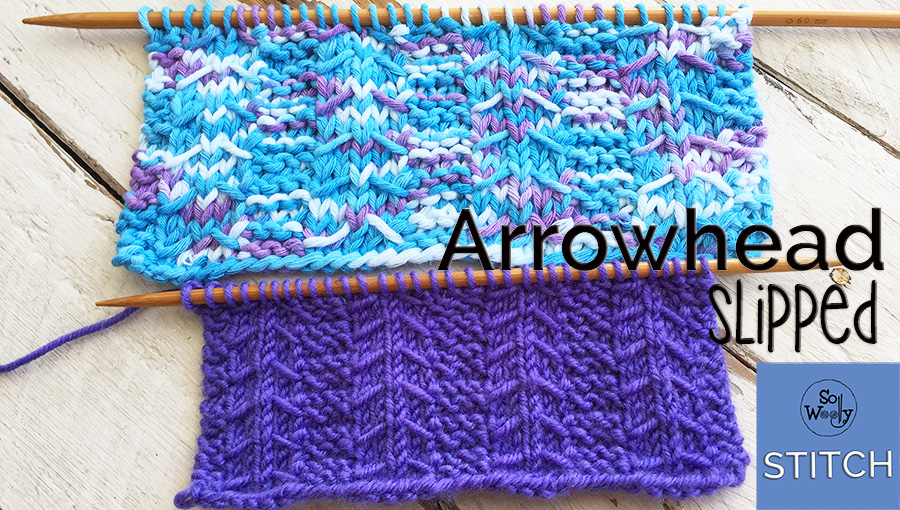 Arrowhead Slipped stitch knitting pattern