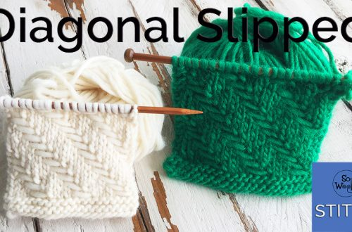 Diagonal Slipped stitch knitting pattern and tutorial