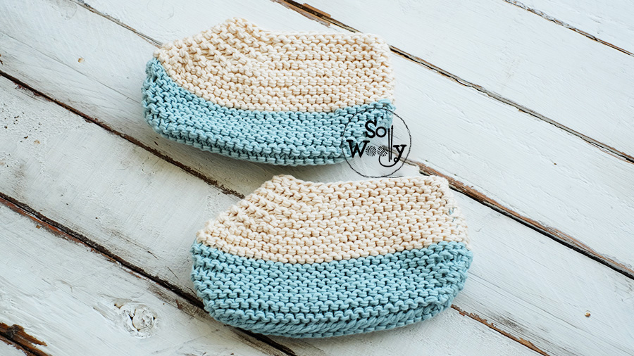 Learn to knit an easy pair of slippers, step by step. So Woolly.