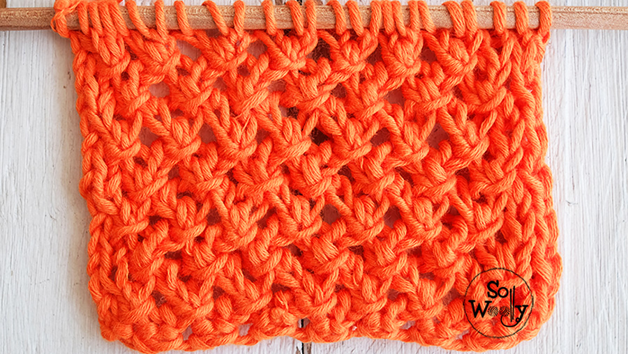 How to knit the Lace Net stitch, step by step. So Woolly.