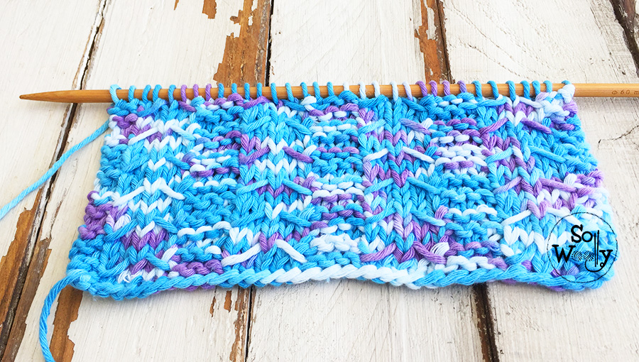 Knitting pattern for variegated yarn and video tutorial: Arrowhead slipped stitch. So Woolly.