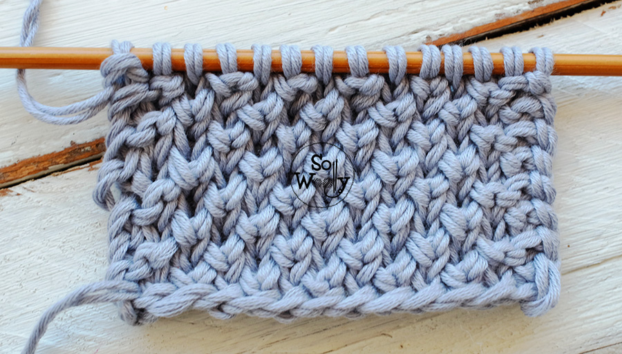 Pearl Brioche stitch knitting tutorial and free written pattern, step by step. So Woolly.