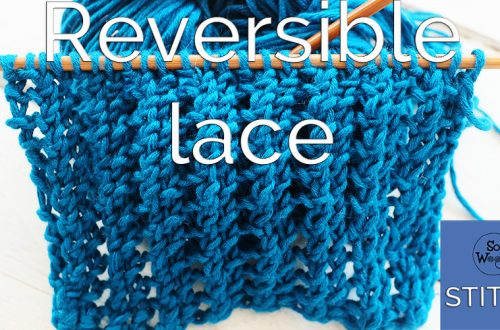 Two-row repeat reversible lace knitting pattern