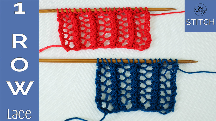 Lace Grid one row knitting stitch pattern
