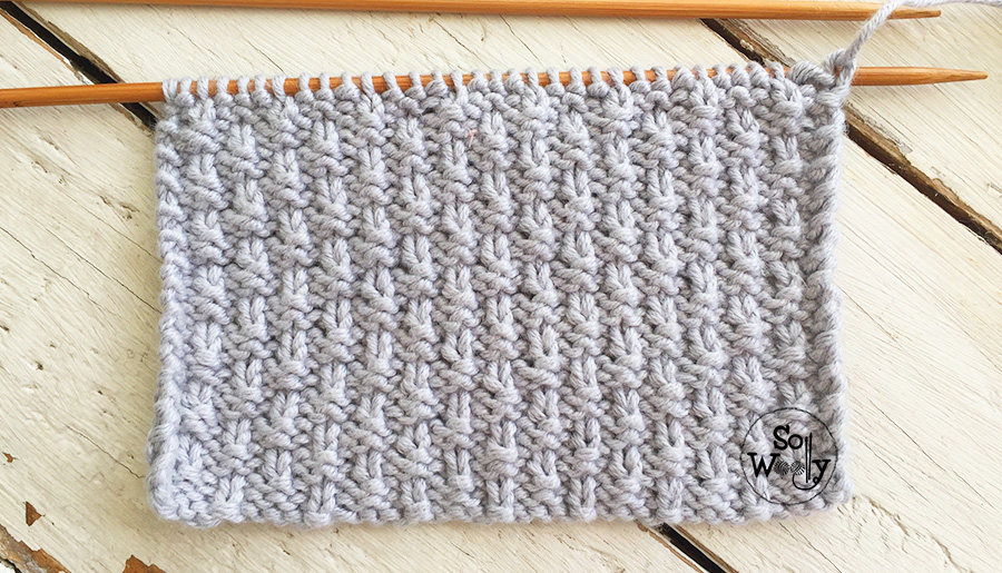 Pearled stitch knitting pattern and video tutorial, explained step by step. So Woolly.