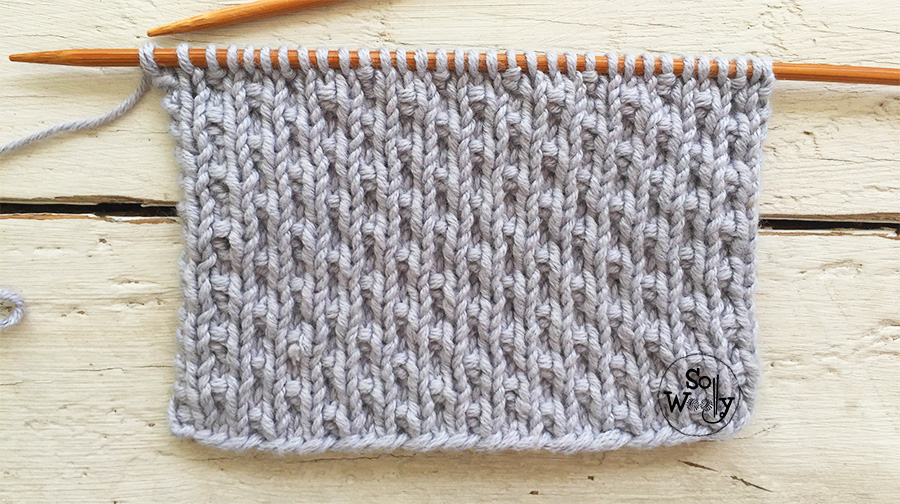 Reversible, easy, knit-purl stitch pattern that doesn't curl. Pearled stitch. So Woolly.