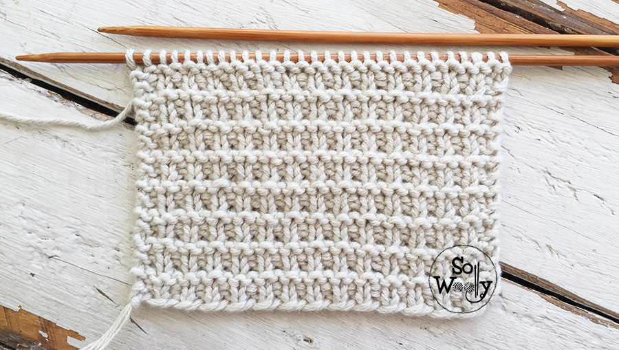How to knit the Grid stitch: A reversible thick, dense pattern. So Woolly.