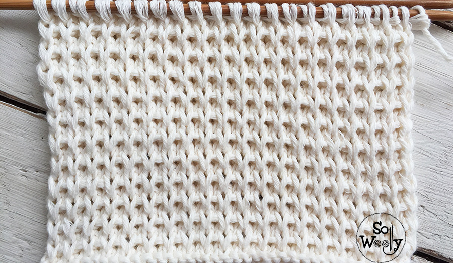 Basket stitch knitting pattern for beginners, step by step. So Woolly.