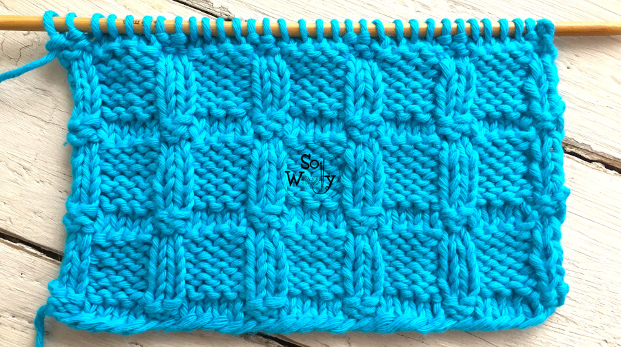 Embossed Blocks: A knitting stitch pattern ideal for beginners (including written instructions and a step by step video tutorial). So Woolly.