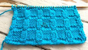 Embossed Blocks reversible knitting stitch pattern