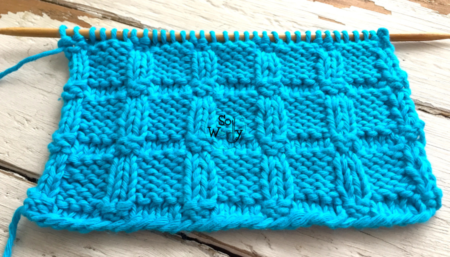 Embossed Blocks reversible knitting stitch pattern