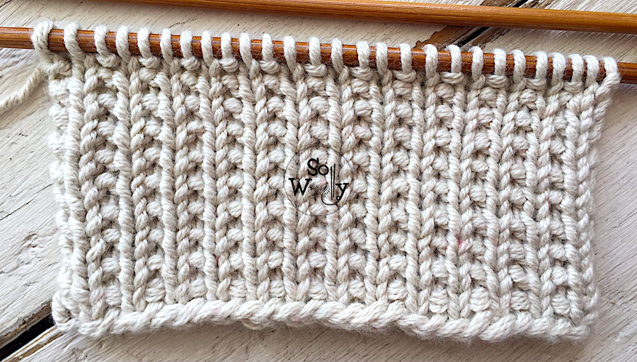 Easy two-row repeat knitting pattern for beginners. So Woolly.