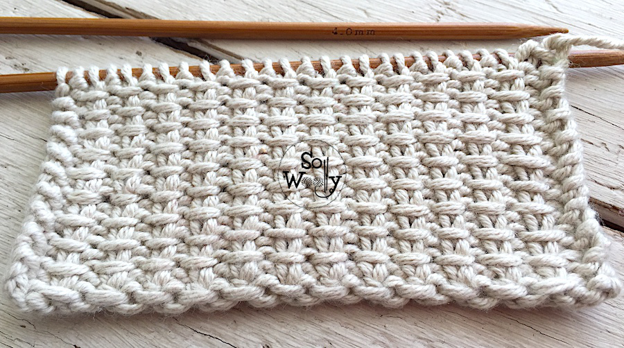 Jute stitch knitting pattern: Easy to do, and it doesn't curl. So Woolly.